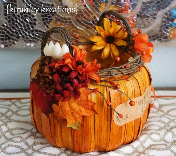 Fall Wedding Card Holder Ideas: PUMPKIN BASKET Gorgeous Wedding Card By KirahleyKreations