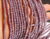Crystal faceted rondelle - 135 pcs - 18 inch strand - 4 mm - A quality - light purple ab - FCRM56