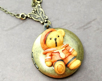 Teddy Bear Necklace,Teddy Bear Locket Jewelry,Memory Locket,Locket Charm,Locket Pendant,Bear Photo Locket,Picture Locket,Round Locket