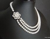 Bridal Necklace, Bridal Pearl Necklace,Swarovski Pearls,Rhinestone Necklace,Bridal Rhinestone Necklace,Bridal Statement Necklace, AMELIA
