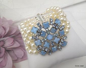 Ivory Swarovski Pearl Bridal bracelet wedding rhinestone bracelet pearl bridal bracelet blue Swarovski crystals something blue ELEANOR