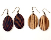 Wood Earrings in Zebrawood or Wenge with Bronze Finish Hardware - Womens Jewelry