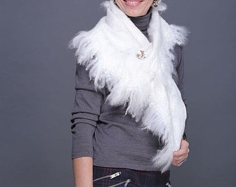 SALE 30% -- Felted Scarf Shawl Wrap merino and baby alpaca-- Ready to Ship now