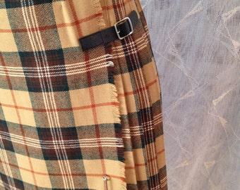 70s Plaid Pleated Kilt /Skirt Pendelton