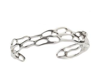 Sterling Silver Cactus Cuff Bracelet, Botanical Bracelet, Desert Cuff Bracelet, Cactus Jewelry, Prickly Pear Bracelet, Southwest Cuff