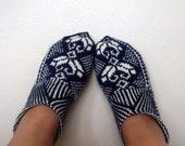 Home Slippers-dark(navy) blue and cream-Hand knit women house slipper-Traditional Turkish Design