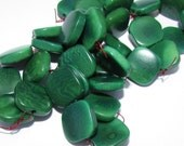 10 Tagua Beads Flat Squares, 12mm, Malachite Green, Organic Beads, Natural Beads, Vegetable Ivory Beads, EcoBeads