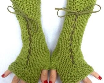 Knit Fingerless Gloves Lime Green/ Chartreuse Corset Gloves