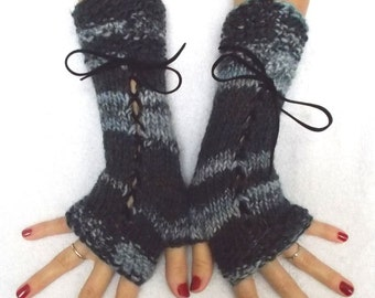 Fingerless Gloves Corset Wrist Warmers in Grey and Charcoal Black with Suede Ribbons Victorian Style
