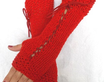 Handknit Fingerless Gloves Corset Wrist Warmers in Red with Suede Ribbons Victorian Style