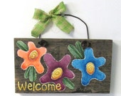Funky Colorful Flower Welcome Sign, Hand Painted on Reclaimed Barn Wood, Welcome Sign, Peach, Purple, Blue Flowers, Barn Wood, Tole Painted