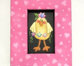 Spring Time Baby Chick with Bright Flowers, Tole Painted, Framed in Blue or Pink, Folk Art Baby Chick, Whimsical Chick, Reclaimed Wood Frame