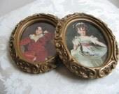 Vintage Children Portrait Prints Pair in Ornate Gold  Oval Frames, Miss Murray & Master Lambton, Sir Thomas Lawrence, Boy Girl Wall Art
