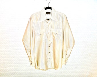 Vintage 1970's Shiny Textured Glam Country Button-Down Shirt by TemTex Men's Large