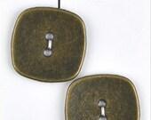 """LaPetite Buttons 1 1/8""""  Antique Gold Square La Petite Fashion Sewing Button 951"""
