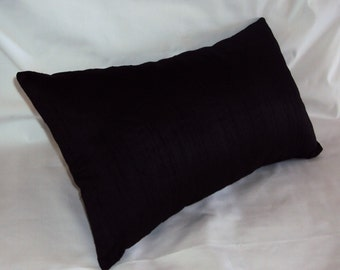 Solid Black Cotton Decorative Lumbar Pillow Cover In 3 Sizes