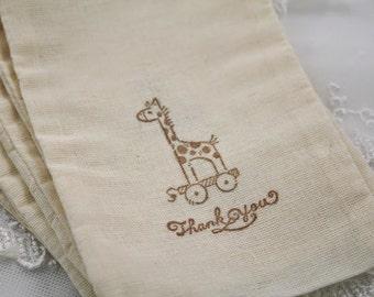 Giraffe Bags Thank you Baby Shower Birthday Muslin Bags Set of 10