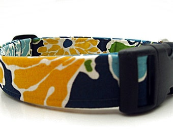 Floral Dog Collar in Navy Blue, Sky Blue, Yellow and Green