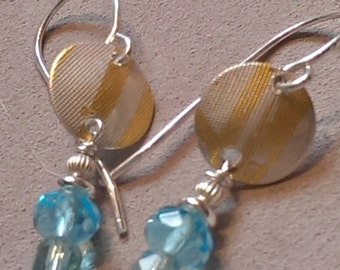Vintage Glass Earrings in  Aquamarine