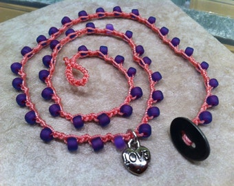 Little GIRL Love Two Sided Charm Heart / Beaded Necklace  / Pink Purple Princess Perfect / Best BFF Gift