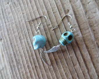 Blue Howlite Turquoise Skulls with Silver Wings Charm Earrings