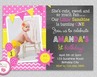 Sunshine Birthday Invitation , You are my Sunshine Birthday Party Invitation
