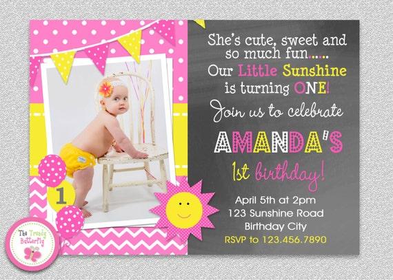 Sunshine Birthday Invitation Sunshine Birthday Party Invitation – Birthday Invites for Girls