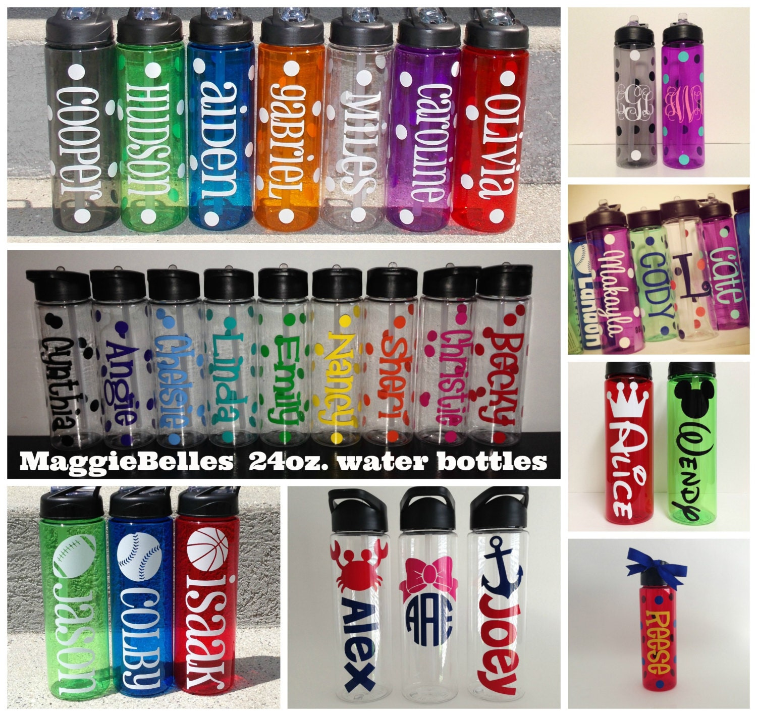 24 oz. personalized plastic water bottle with straw polka dots