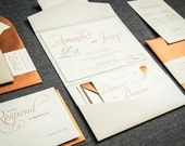 Fall Wedding Invitations, Burnt Orange, Copper and Taupe, Modern Invitations, Modern Swirl & Flourish - Pocketfold, No Layers, v3 - SAMPLE
