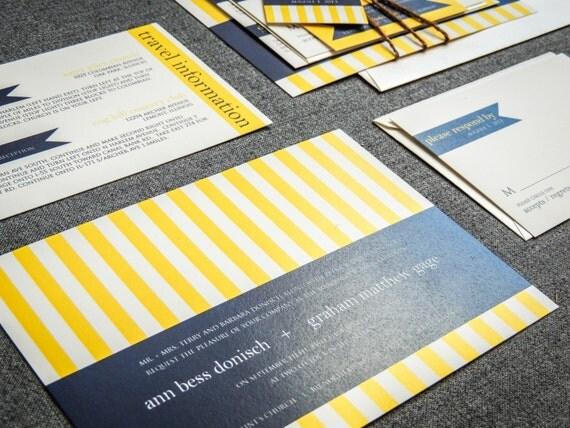 "Nautical Wedding Invitation, Navy Blue and Yellow, Beach Invitations, Striped Invites - ""Preppy Chic"" Flat Panel, No Layers, v3 - DEPOSIT"