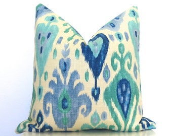 Jewel Turquoise Ikat Linen Pillow Cover - Turquoise - Aqua - Blue - Cream - Designer Pillow - Throw Pillow - Pillow Cover - Ikat Pillow