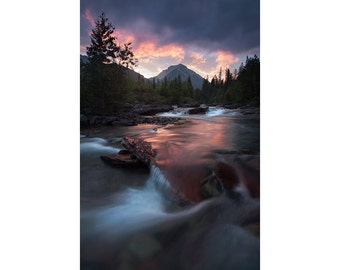 Sunrise, Nyack Creek, Glacier National Park, Fine Art, Photo, Print, Montana, Portrait, Wilderness, Nature Photography, Hiking, Backpacking