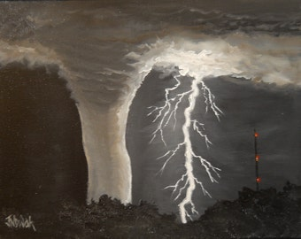 """Original OOAK Hand-Painted Oil Painting """"Tornado in the Night"""" Night Landscape 11 x14 Canvas"""