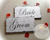 Bride & Groom Sign Set, Wedding Photo Props, Wedding Signs, Chair Signs