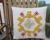 Mandala Pillow Cover Organic Cotton with Hand Tatted Lace and Embroidery