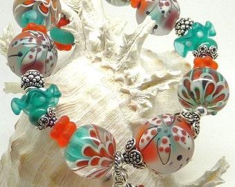Lampwork Bracelet FIELD OF FLOWERS