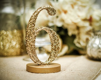 Glitter Table Numbers - Glittery Table Numbers for Wedding Reception Decor, Numbers 1-10 (Item - GLI110)