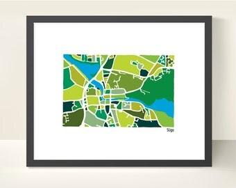 Sligo Ireland Map - original illustration print