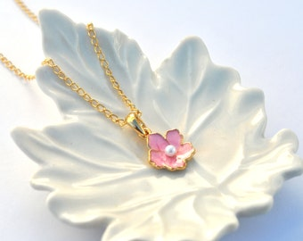 Pink sakura Necklace cherry blossom gold bridesmaid brides gift set of 1 2 3 4 5 6 7 8 9 10 11 12