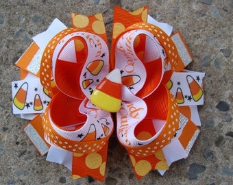 Candy corn Hair Bow Halloween hair bow Halloween boutique hair bow large hair bow Stacked Boutique Hair Orange hair bow holiday hair bow