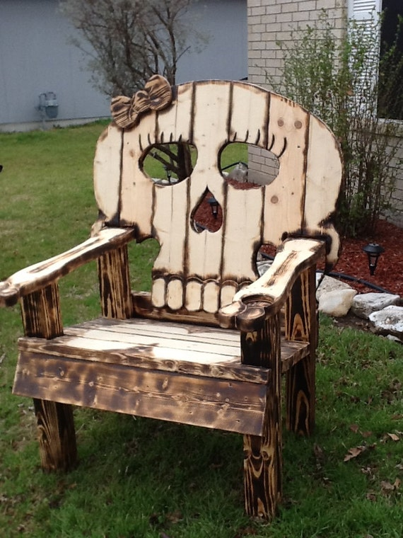 Wood Skull Lawn Chairs ~ Items similar to girl skull adirondack chair on etsy