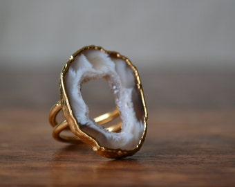 WILLA AURA  /// Size 9 /// Agate Slice Ring /// Electroformed 24kt Gold