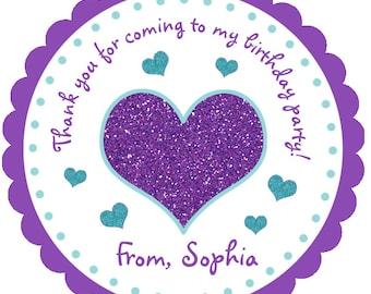 Glitter Heart sticker Birthday Sticker Goody Bag Stickers Girls Birthday Party Sticker