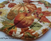 Harvest Pumpkin Candle Mat, October, November, Fall, Autumn, Table Topper, Halloween, Thanksgiving, Needlecraft Holidays, Decor, Reversible