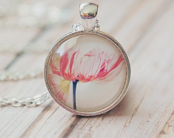 flower jewelry, poppy flower necklace, photo pendant, glass dome, red pink, girls, garden silver spring, nature photography, Myan Soffia