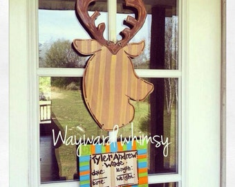 Deer Baby Hospital Door Nursery Wood Cut Out Door Hanger