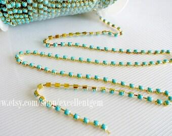 Rhinestone Chain, 3 feet Turquoise blue rhinestone chain in Gold plated Brass Setting-3.7mm (ARC-006)