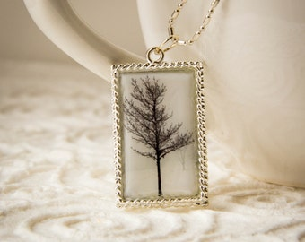 Tree Necklace, Jewelry, Necklace, Photograph Jewlery, Polymer Clay Photograph Tree Necklace, Black, White, Silver