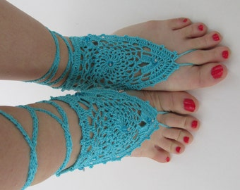 Lovely crocheted cotton yarn barefoot sandals in electric blue