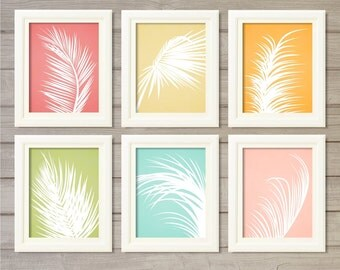 Palm Leaves Printable Wall Art - Set of 6 Candy Colors- 8x10 - Instant Download Tree Botanical Nature Home Living Room Decor Interior Design